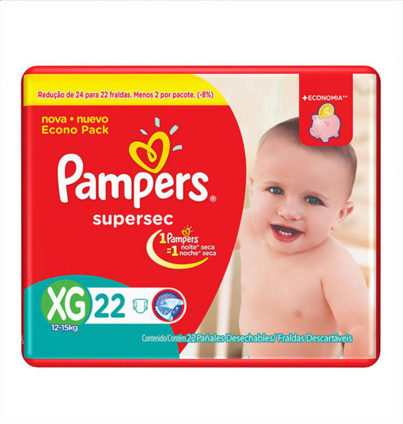 FRALDAS PAMPERS BASICA SUPERSEC ECON XG C/22