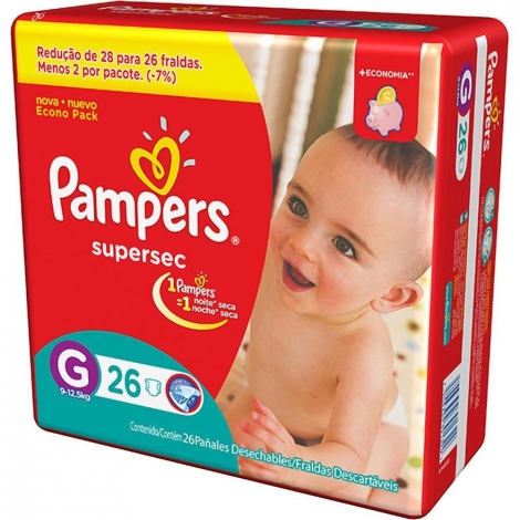FRALDAS PAMPERS BASICA SUPERSEC ECON G C/26