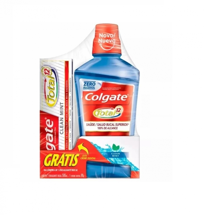 COLGATE TOTAL 12 ENXAGUANTE 500ML CLEAN MINT+ CREME DENTAL TOTAL 12