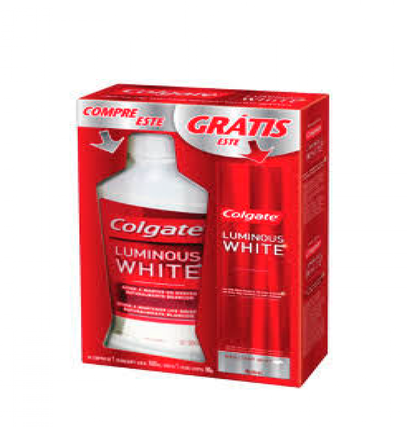 COLGATE LUMINOUS WHITE ENXAGUANTE 500ML + CR COLGATE LUMINOUS