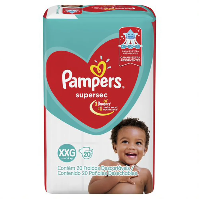 FRALDA PAMPERS BASICA SUPERSEC ECON XXG 20