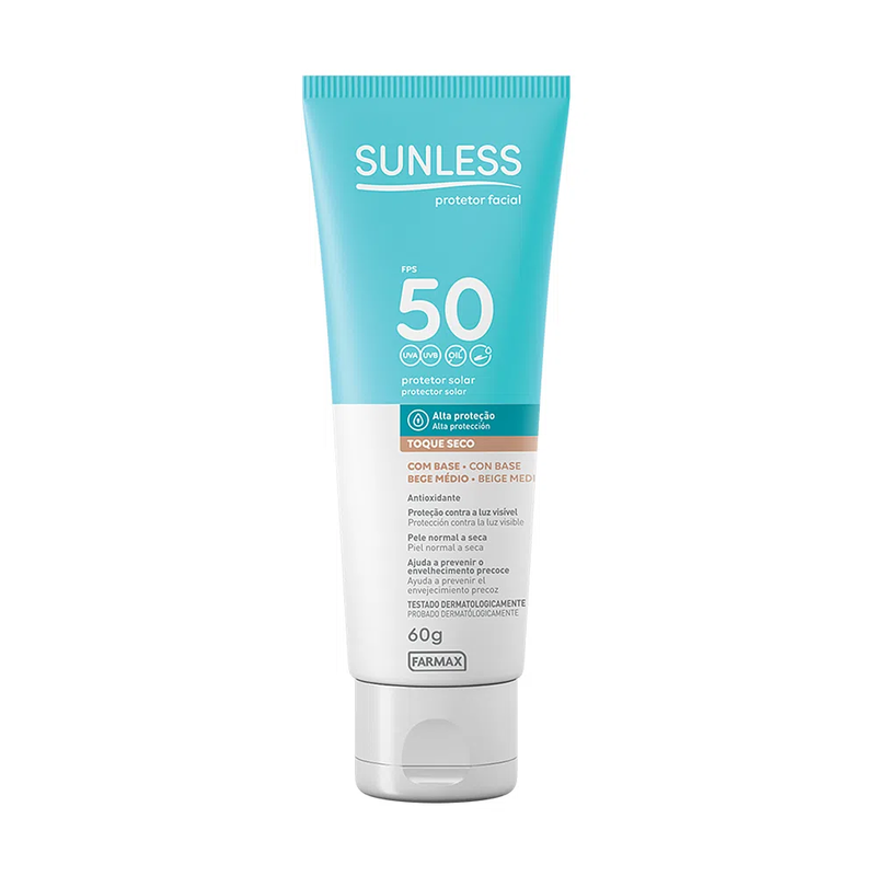 SUNLESS TOQ SECO FACIAL BEGE MÉDIO  FPS 50 60G